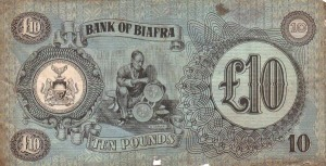 Rear of Biafran ten pounds note.