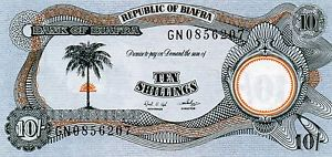 Front of Biafran ten shillings note.