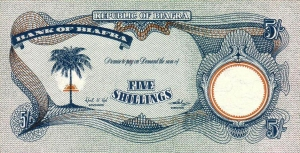 Front of Biafran five shillings note.