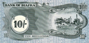 Rear of Biafran ten shillings note.