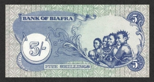 Rear of Biafran five shillings note.