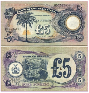 Front and rear of Biafran five pounds note.