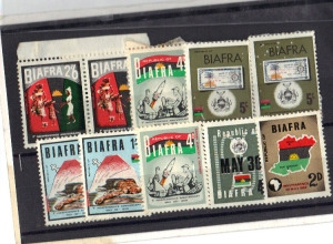 A collection of Biafran stamps.