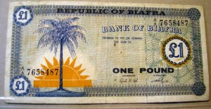Front of Biafran one pound note.
